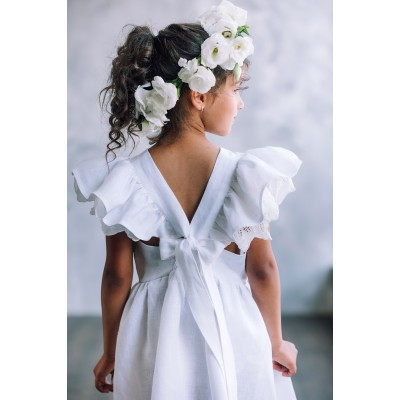 White boho flower girl dress